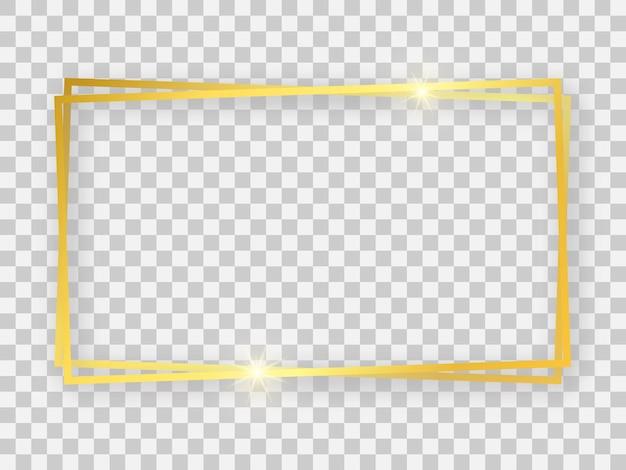 Doppelter goldglänzender rechteckiger 16x9-rahmen mit leuchtenden effekten und schatten auf transparentem hintergrund. vektor-illustration
