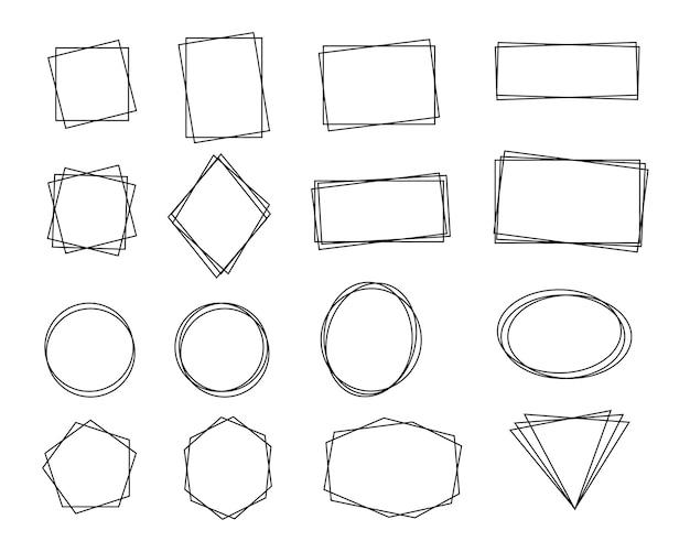 Doppelter rahmen. textrahmen mit einfachen geometrischen formen sieht modern aus.