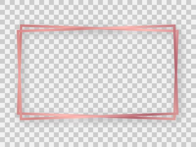 Doppelter roségold glänzender rechteckiger 16x9-rahmen mit leuchtenden effekten und schatten auf transparentem hintergrund. vektor-illustration