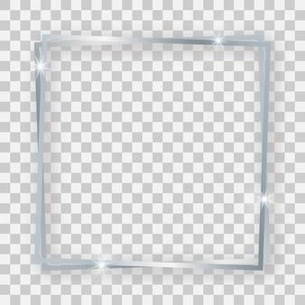 Doppelter silberner glänzender quadratischer rahmen mit leuchtenden effekten und schatten auf transparentem hintergrund. vektor-illustration