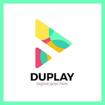 Doppeltes dreieck media play logo