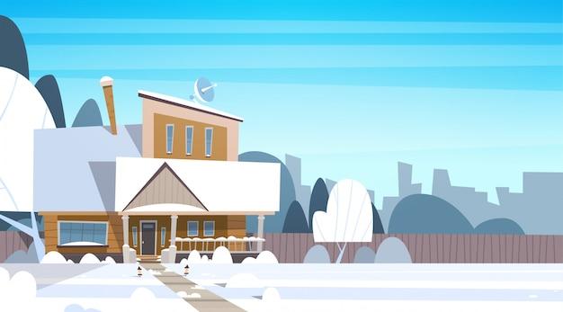 Dorf-winter-landschaftshaus-gebäude mit schnee auf spitzenstadt- oder stadtvorortstraße