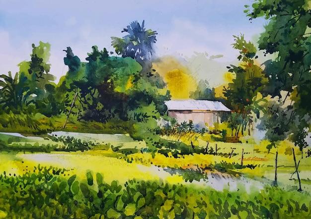 Dorfhaus aquarell landschaft hintergrund