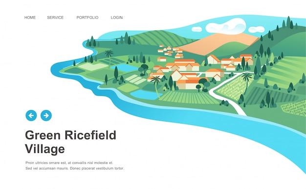 Dorflandschaft mit häusern, reisfeld, berg und fluss gestalten vektorillustration landschaftlich