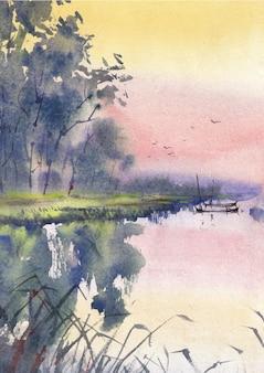 Dorfnatur in der regenzeit von aquarell