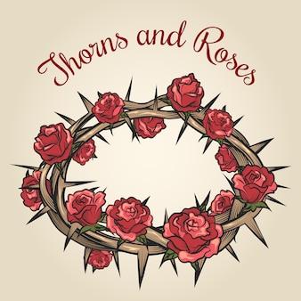 Dornen und rosen gravur emblem. blumenblumenrahmen, pflanzennatur, vektorillustration
