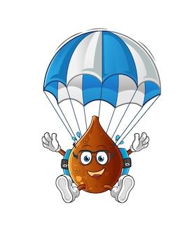 Dornige palme fallschirmspringen charakter cartoon maskottchen