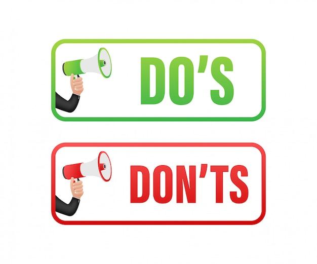 Dos and donts mögen daumen hoch oder runter. flache einfache daumen hoch symbol minimale runde logo-element-set-grafikdesign isoliert auf weiß. lager illustration.