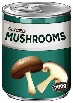 Dose geschnittene pilze