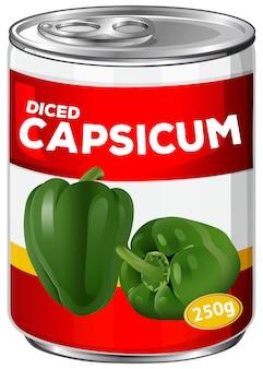 Dose in würfel geschnittener paprika