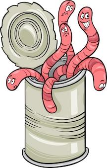 Dose würmer, die karikatur sagen