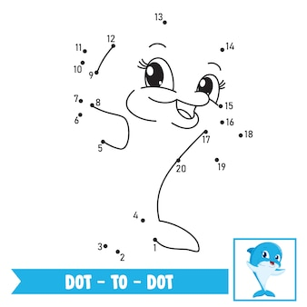Dot to dot game illustration für kindererziehung