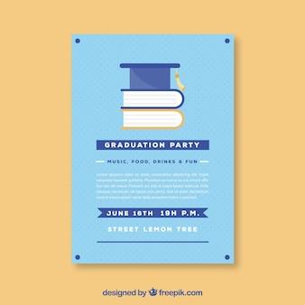 Dotted graduierung party flyer mit bücher in flachen design