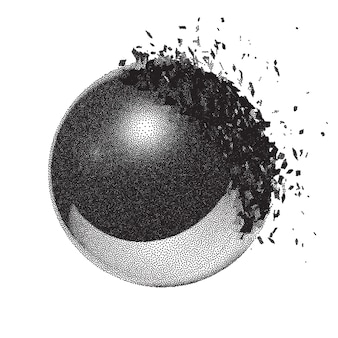 Dotwork-rasterball-explosion