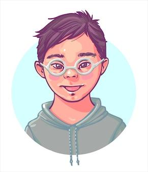 Down-syndrom. farbporträt eines jungen mit down-syndrom ein niedlicher lächelnder junge