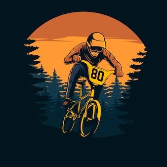 Downhill racer im sonnenuntergang