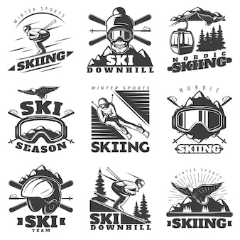 Downhill ski label labels set