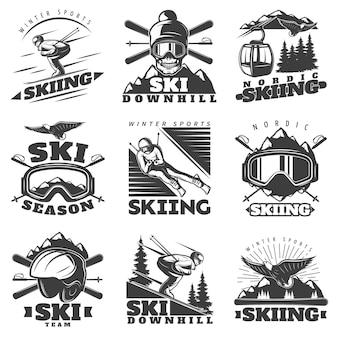 Downhill ski label labels set