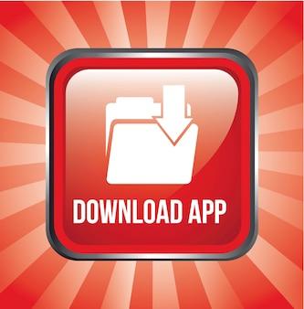 Download-app-knopf über roter hintergrundvektorillustration