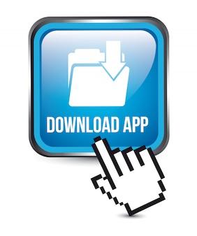 Download-app-knopf über weißer hintergrundvektorillustration