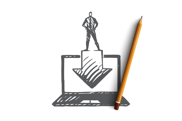Download, button, internet, computer, technologiekonzept. hand gezeichneter laptop und downloadprozesskonzeptskizze.