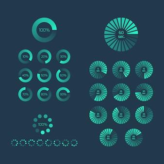 Download-fortschrittsanzeige gesetzt. symbol und zeichen hochladen, balkenelement, internet laden.