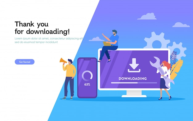 Download seite der mobilen app, download system update illustration, leute update betriebssystem landing page, vorlage, ui, web, mobile app, poster, banner, flyer