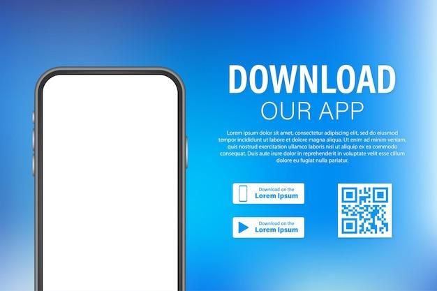 Download-seite der mobilen app. leeres bildschirm-smartphone für ihre app. lade app herunter. vektorgrafik auf lager.