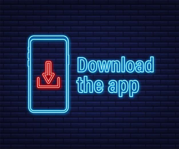 Download-seite der mobilen app. leeres bildschirm-smartphone für ihre app. neon-symbol der app herunterladen