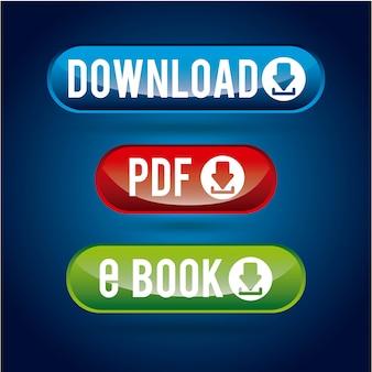 Downloaddesign über blauer hintergrundvektorillustration
