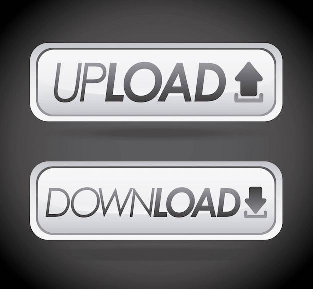 Downloaddesign über grauer hintergrundvektorillustration