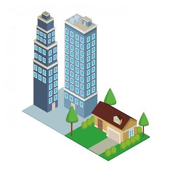 Downtown und hausbau isometrisch