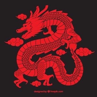 Drache des traditionellen chinesen mit schattenbilddesign