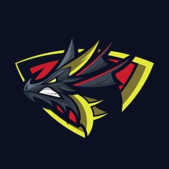 Drache logo mascot design vector