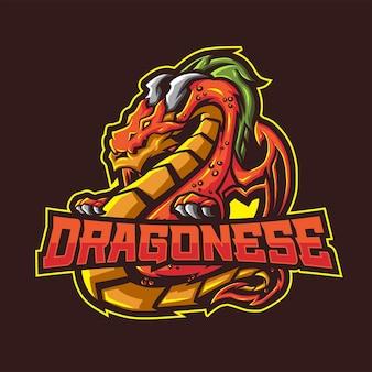 Drache-maskottchen, das einen text dragonese hält.