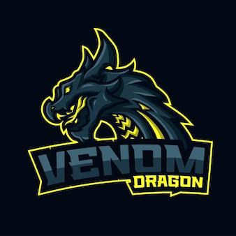 Drache mit venom breath und text venom dragon unten.