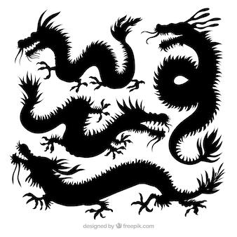 Drache-schattenbildsammlung des traditionellen chinesen