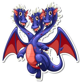 Drachen-cartoon-charakter-aufkleber mit drei köpfen