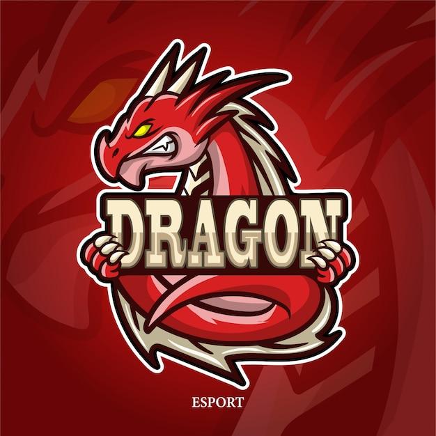 Drachen maskottchen esport logo.