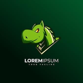 Drachen maskottchen logo sport premium