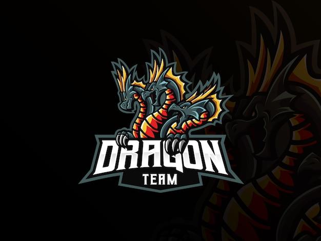 Drachen maskottchen sport logo