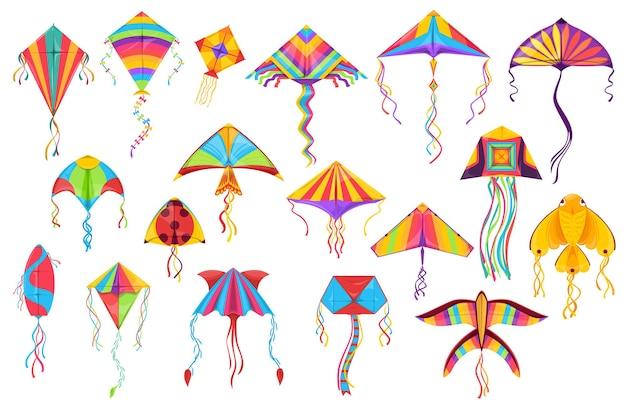 Drachen papier spielzeug cartoon von fliegenden windspielzeugen.