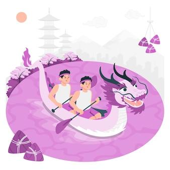 Drachenboot festival konzept illustration