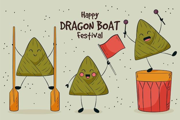 Drachenboote zongzi hintergrundthema