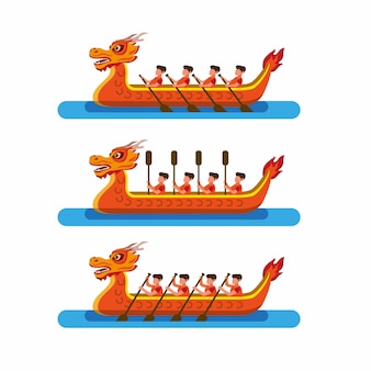 Drachenbootrennen im chinesischen festivalikonensatz. karikatur flacher illustrationsvektor isoliert