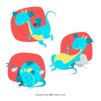 Drachenfigurensammlung in verschiedenen posen
