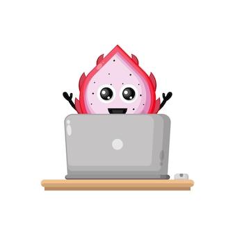 Drachenfrucht laptop niedlichen charakter maskottchen