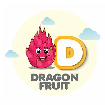 Drachenfrucht-maskottchen mit buchstaben d