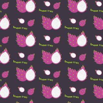 Drachenfrucht nahtloses sich wiederholendes muster, handgezeichneter stil. exoti