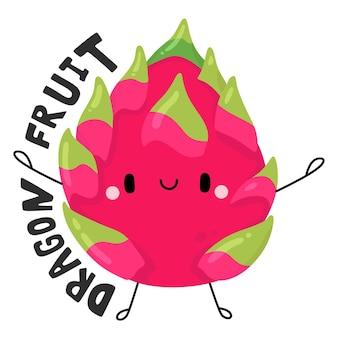 Drachenfrucht niedliche obst- und gemüse-zeichentrickfigur